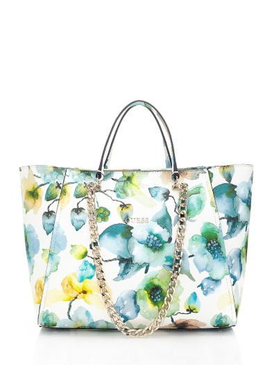 Guess Nikki Floral Chain Tote Bag